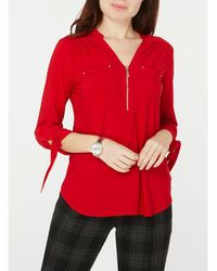 Dorothy Perkins - Red 3/4 Sleeve Jersey Shirt - Lyst