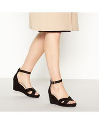 e0bff26035ad Faith Black Suedette  dust  Mid Wedge Heel Ankle Strap Sandals in ...