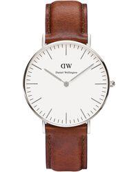 Daniel Wellington - Unisex Silver 'st Andrews' Brown Leather Strap Watch 0607dw - Lyst