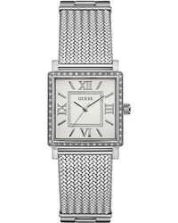 Guess - Ladies Silver Watch With Crystal Detailing And Silver Mesh Bracelet W0826l1 - Lyst