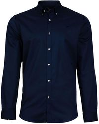 Raging Bull - Navy Long Sleeve Pinpoint Oxford Shirt - Lyst