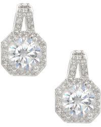 Anne Klein - Silver Tone Button Stud Earrings - Lyst