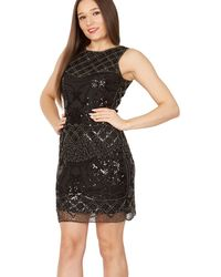 Tenki - Black Sequin Beads Embroidered Lace Dress - Lyst