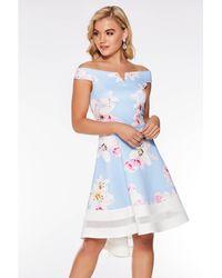 c3ab54847802 Quiz Curve Navy Knot Dip Hem Dress in Blue - Lyst