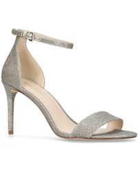 Nine West - Gold 'rave' Mid Heel Sandals - Lyst