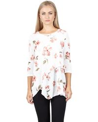 Izabel London - White Floral Print Double Layered Top - Lyst