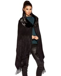 Quiz - Black Faux Fur Collar Knit Cape - Lyst