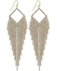 Red Herring - Gold Open Diamante Shower Statement Earrings - Lyst