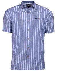 Raging Bull - Big And Tall Blue Long Sleeve Stripe Linen Shirt - Lyst