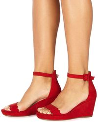 Faith - Red Suedette 'dust' Mid Wedge Heel Ankle Strap Sandals - Lyst