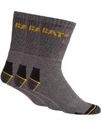 Caterpillar - Pack Of Three Grey Work Socks - Lyst