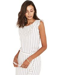 Oasis - Black And White Linen Look Pinstripe Shell Top - Lyst