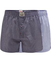 Levi's - 2 Pack Blue Plain And Striped Cotton Boxers - Lyst