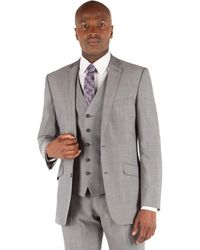 Ben Sherman - Silver Grey Panama 2 Button Front Slim Fit Kings Suit Jacket - Lyst