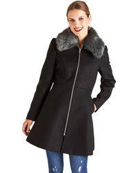 Yumi' - Black Faux Fur Swing Coat - Lyst