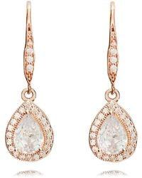 Anne Klein - Rose Gold Pear Eurowire Earrings - Lyst