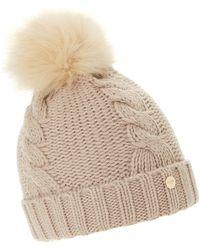Dune - Light Pink 'felice' Cable Knit Pom Pom Hat - Lyst