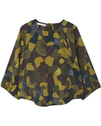 Mango - Khaki Abstract Print 'toky' Top - Lyst