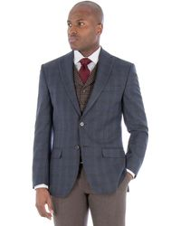 Racing Green - Blue With Brown Check Wool Blend Tailored Fit Jacket - Lyst