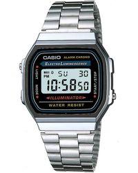 G-Shock - Unisex Silver Rectangular Dial Digital Watch A168wa-1yes - Lyst
