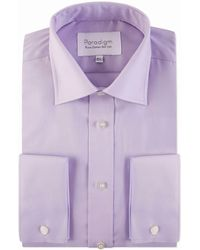 Double Two - Big And Tall Lilac Double Cuff 100% Cotton Shirt - Lyst