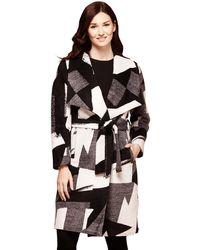 Yumi' - Black Monochrome Wrap Coat - Lyst