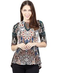 Izabel London - Multicoloured Peacock Print Peplum Top - Lyst