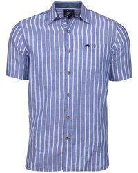 Raging Bull - Blue Long Sleeve Bengal Stripe Linen Shirt - Lyst