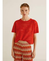 Mango - Red 'flam' Top - Lyst