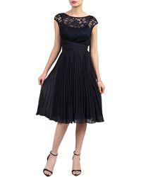 Jolie Moi - Navy Lace Bodice Pleated Dress - Lyst