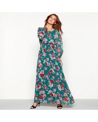 Vila - Green Floral Print High Neck Long Sleeve Maxi Dress - Lyst