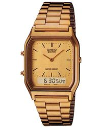 G-Shock - Unisex Gold Rectangular Dial Bracelet Watch Aq-230ga-9dmqye - Lyst
