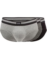 Jockey - Pack Of Three Grey And Black Plain And Striped Slips - Lyst