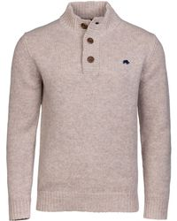 Raging Bull - Oatmeal Button Up Funnel Neck Jumper - Lyst