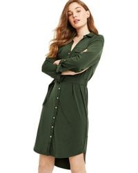 Oasis - Khaki Utility Crepe Shirt Dress - Lyst