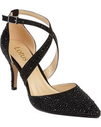 Lotus - Black Diamante 'star' High Stiletto Heel Pointed Shoes - Lyst