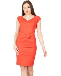 Jolie Moi - Red Fold Detail Bodycon Dress - Lyst