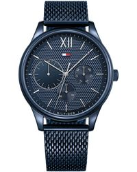 Tommy Hilfiger - Gents Stainless Steel Blue Ip Mesh Bracelet Watch 1791421 - Lyst