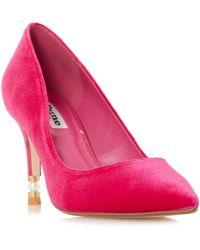 Dune - Pink Velvet 'brioney' Mid Stiletto Heel Court Shoes - Lyst