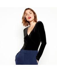 J By Jasper Conran - Black Velvet Long Sleeve Bodysuit - Lyst