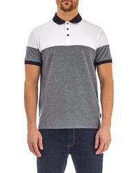 Burton - Navy And White Cut And Sew Polo Shirt - Lyst