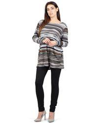 Izabel London - Grey Striped Oversized Top - Lyst