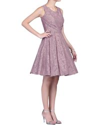 Jolie Moi - Mauve Lace Bonded Pleated Waistband Dress - Lyst