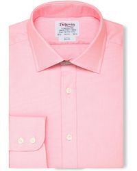 Tm Lewin - Slim Fit Pink Oxford Button Cuff Long Sleeve Length Shirt - Lyst