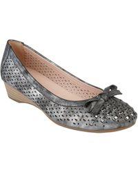 Lotus - Metallic 'button' Ballet Court Shoes - Lyst