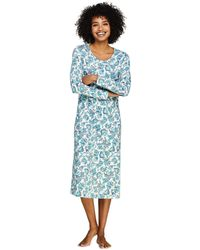 Lands' End - Blue Supima Patterned Long Sleeve Calf-length Nightdress - Lyst