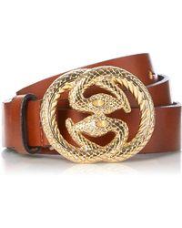 Dune - Tan 'nedusa' Snake Buckle Belt - Lyst