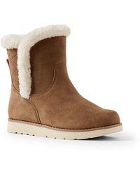Lands' End - Beige Fur-lined Suede Boots - Lyst
