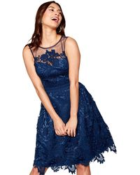 Lipsy - Navy Floral Lace Mesh 'gloria' High Neck Knee Length Dress - Lyst