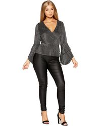 9b3930daeffe36 Quiz - Gabby s Black And Silver Glitter Frill Sleeve Wrap Top - Lyst
